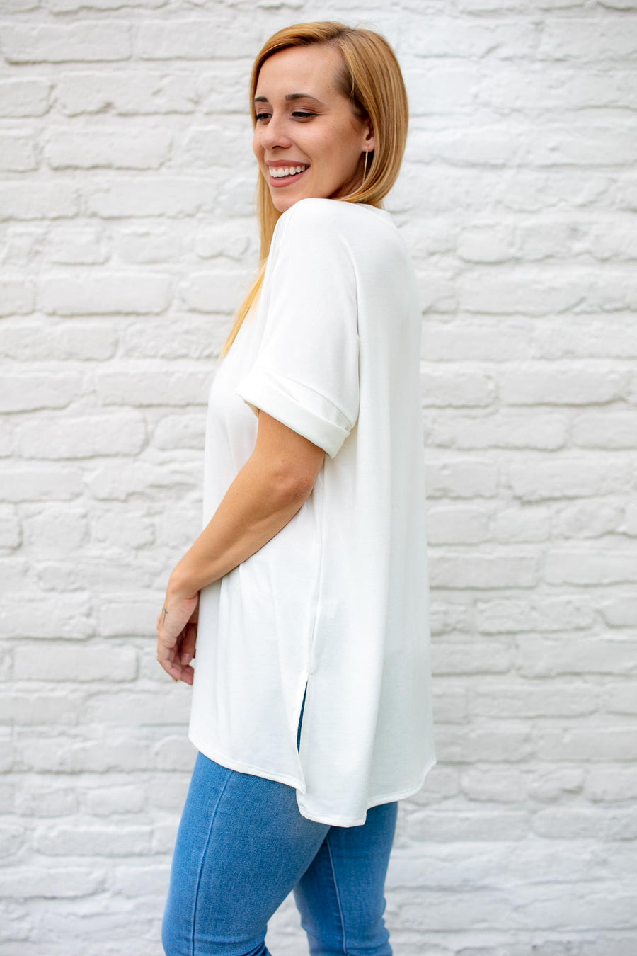 Women's Casual White Dolman Sleeve Top