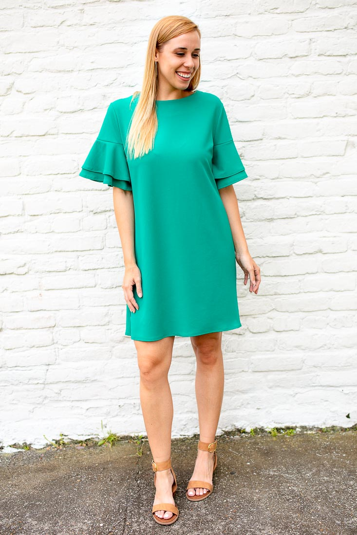 Anything Goes Ruffle Sleeve Dress in Jade