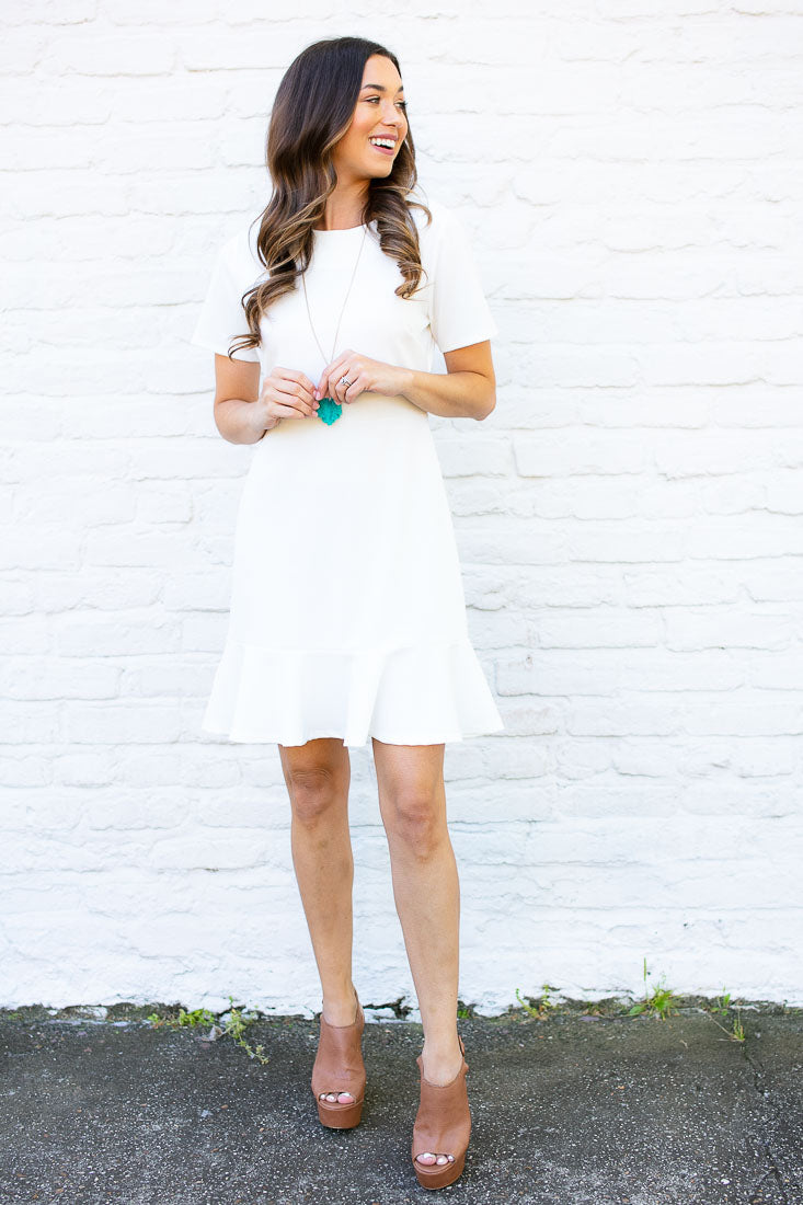 Start Things New Ruffle Hem Dress - White