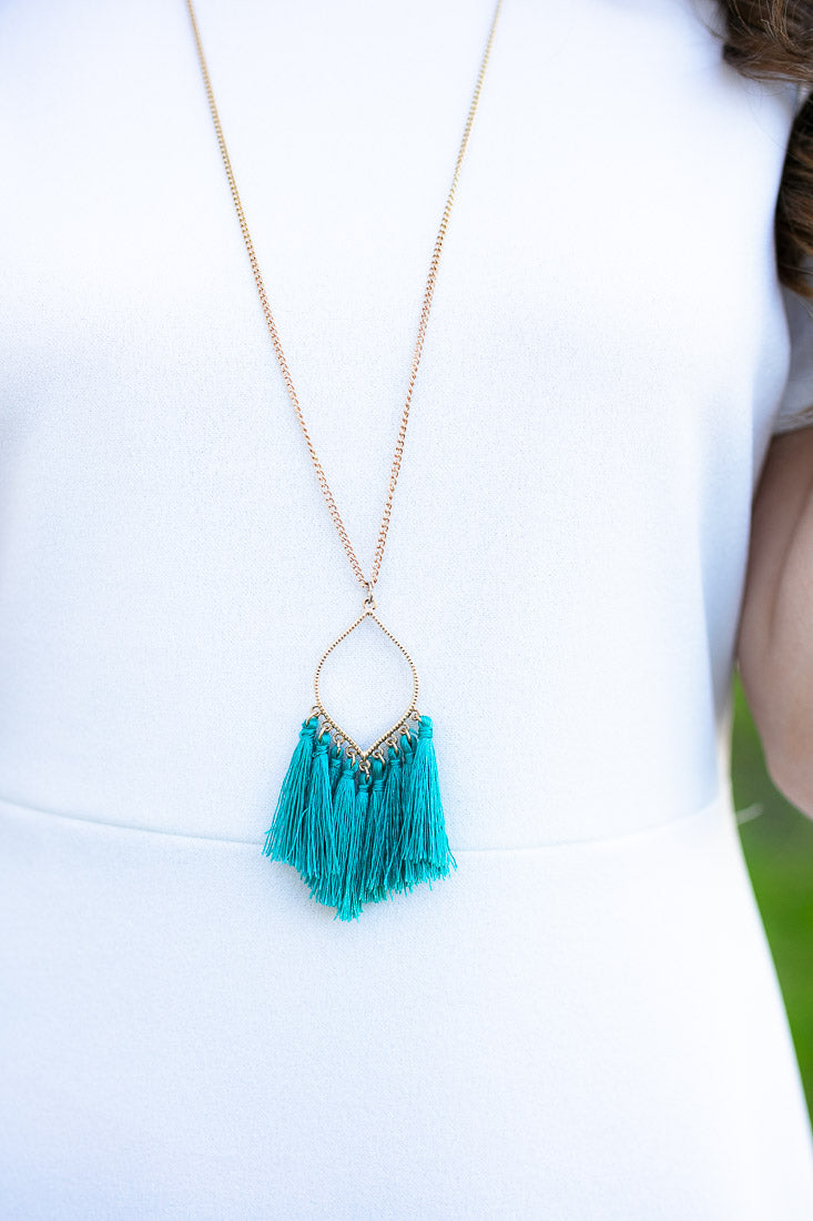 All at Once Turquoise Tassel Necklace