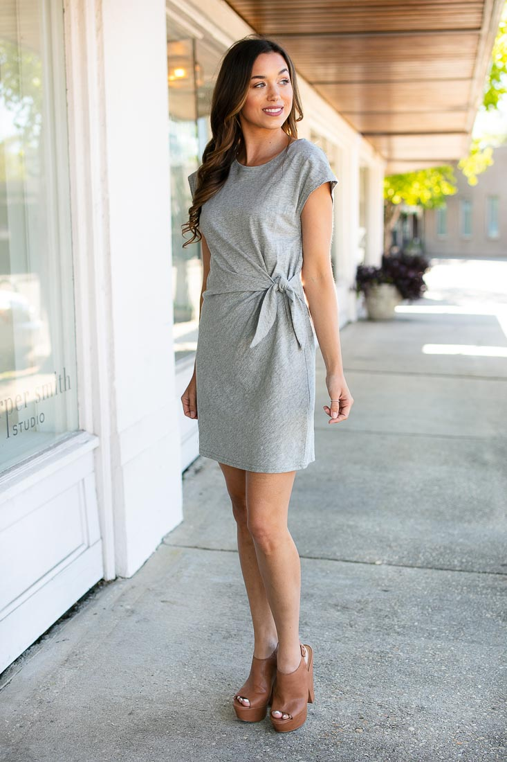 Grey Knot Front Casual Dress