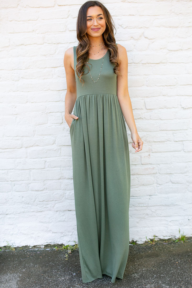 Why Wait Sleeveless Olive Maxi Dress