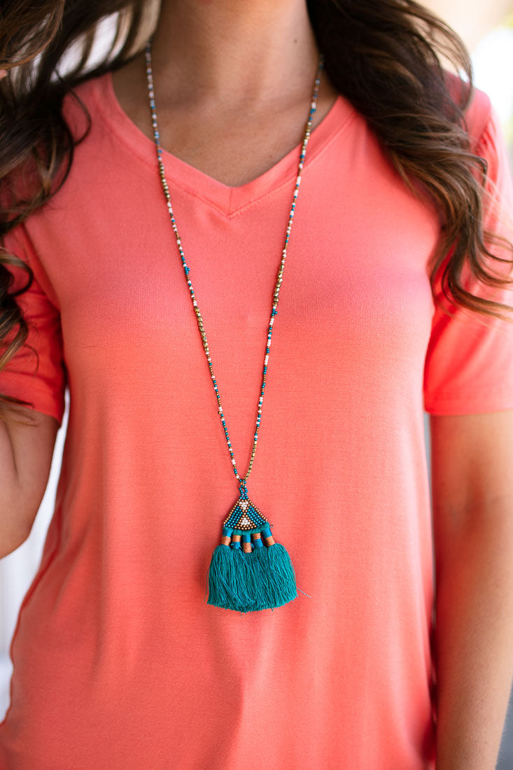 Adventure Forever Beaded Tassel Necklace