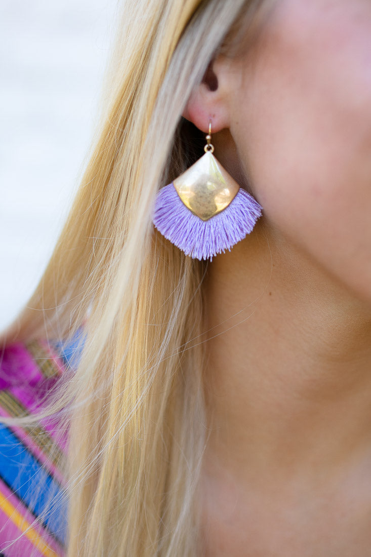 Dreamy Purple Fan Tassel Earrings