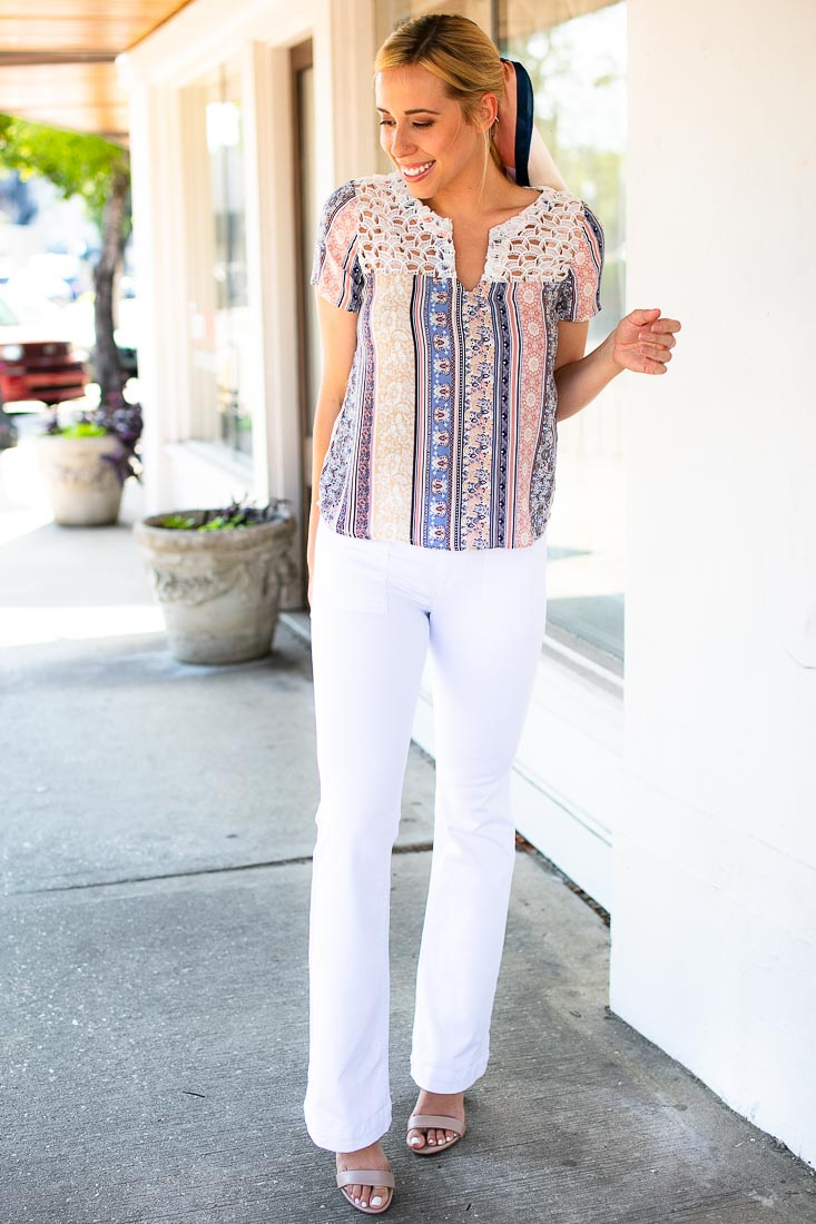 Plot Twist Boho Print Top with Open Lace