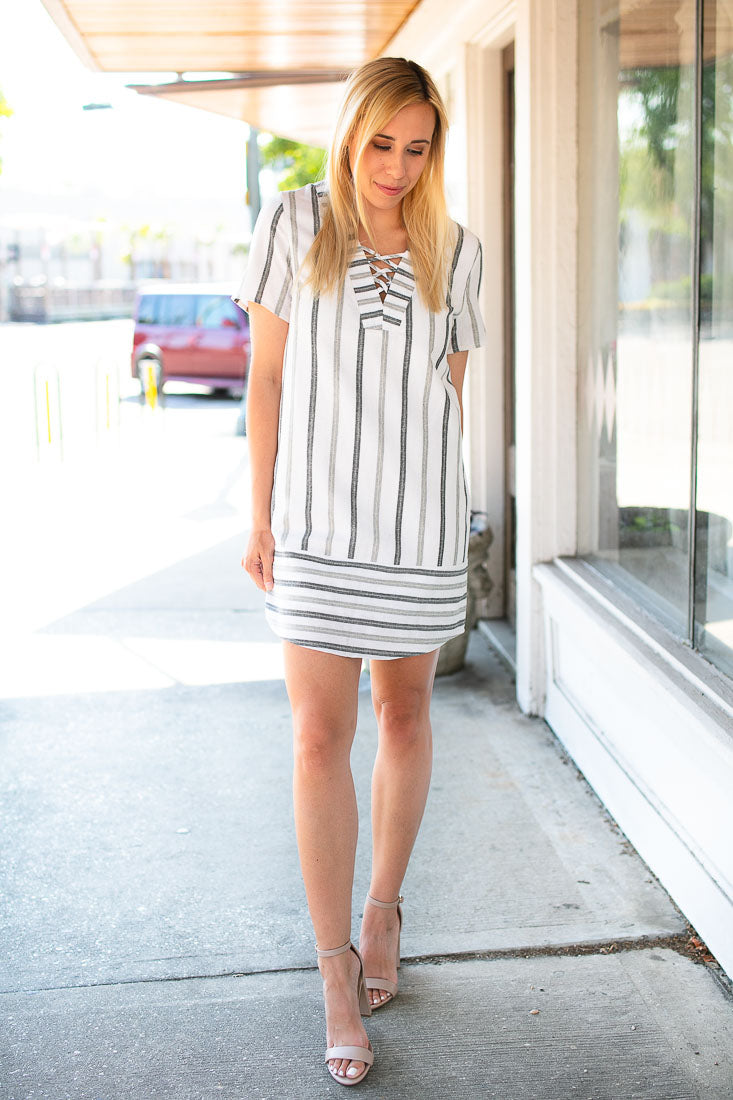 Can We Just Talk Stripe Cotton Dress