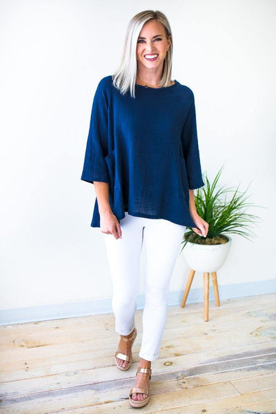 Dolman Sleeve Linen Top