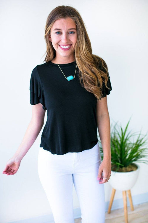 Black Ruffle Sleeve Crop Top