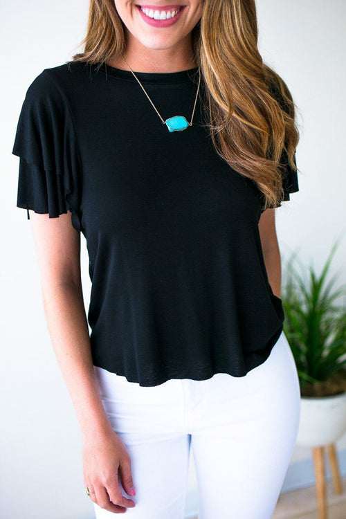 Ruffle Sleeve Crop Top- Black