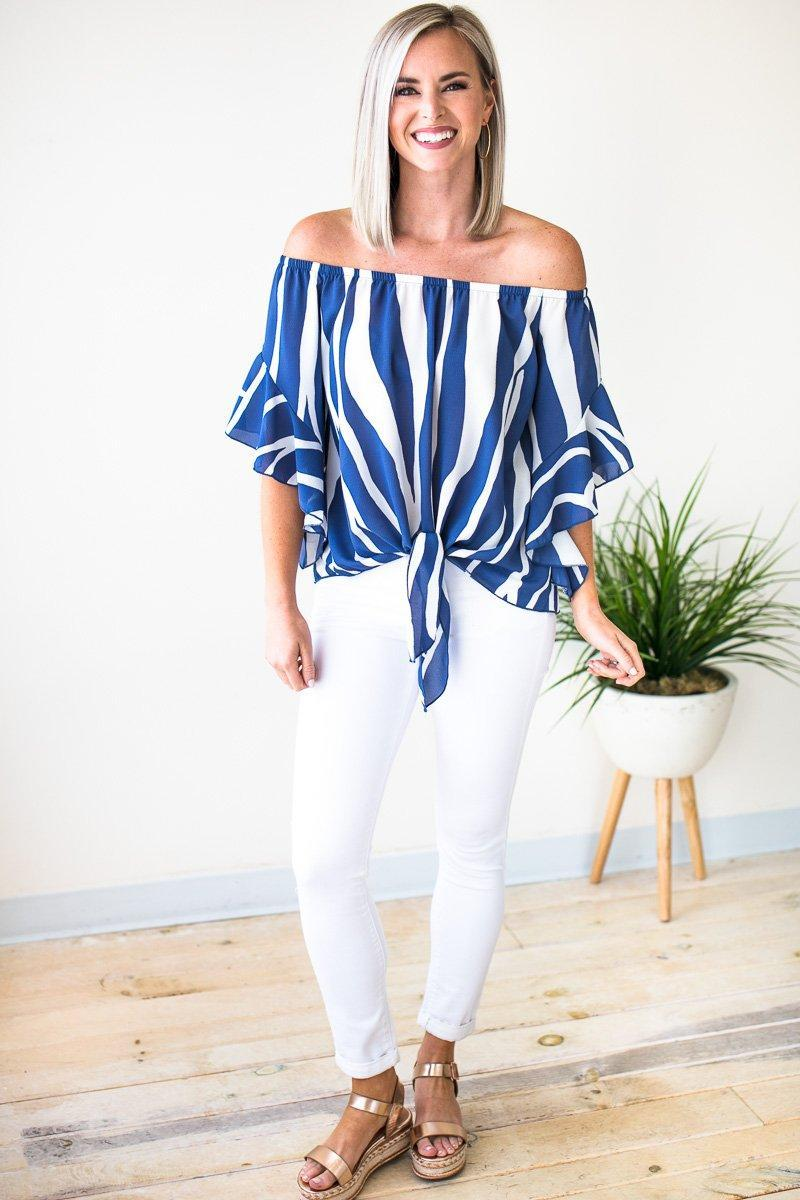 Tops Living for Tonight Tie Front Flutter Sleeve Top - Lotus Boutique