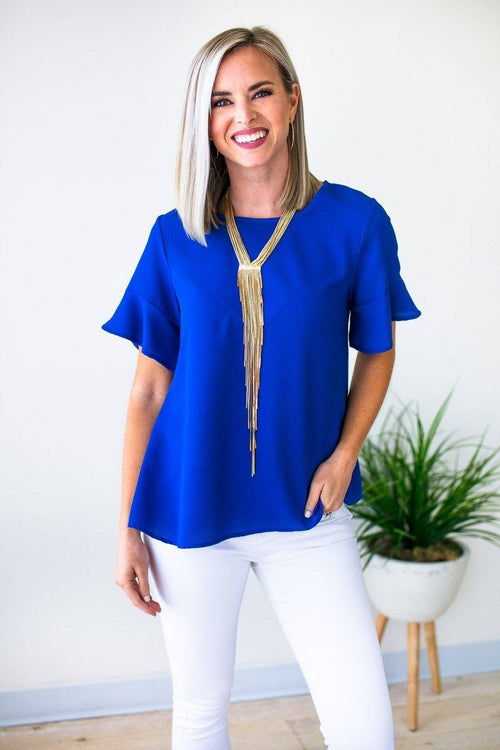 Flutter Sleeve Royal Blue Top