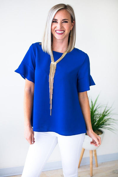 Tops Watching the Clock Flutter Sleeve Top in Royal - Lotus Boutique