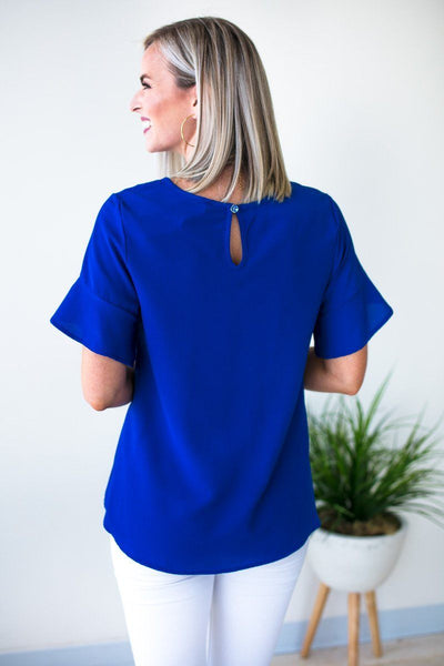 Basic Blue Flutter Sleeve Top