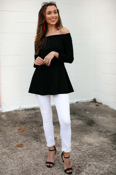Top Pretty Peplum Top in Black - Lotus Boutique
