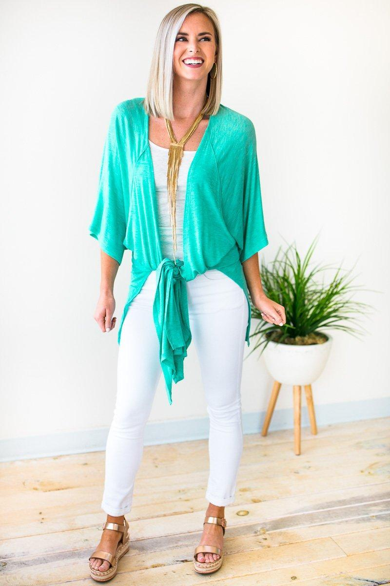 Tops Same City Sweet Green Duster Kimono - Lotus Boutique