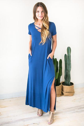 Two Sides Cross Front Maxi Dress