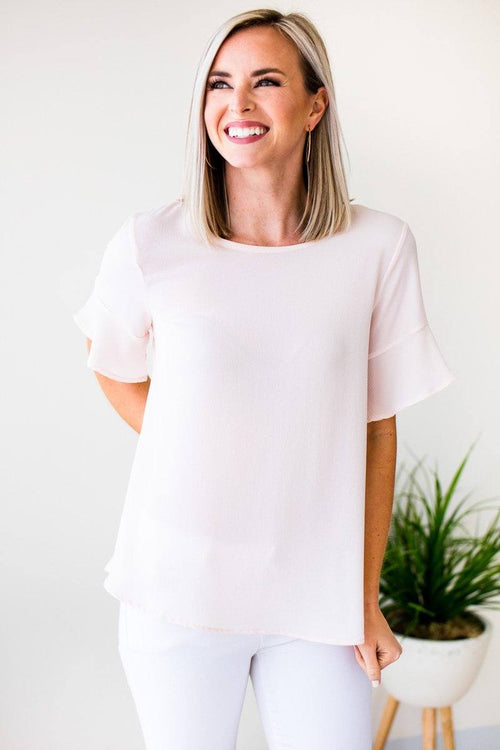 Basic Blush Flutter Sleeve Top