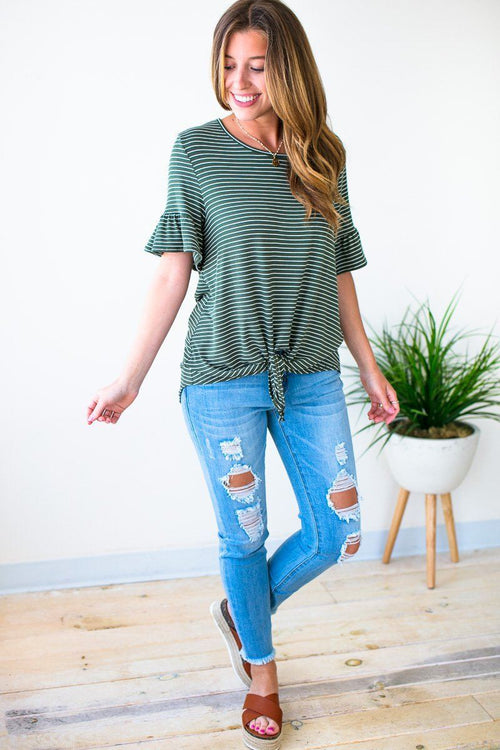 Olive Tie Front Top With Ruffle Sleeves