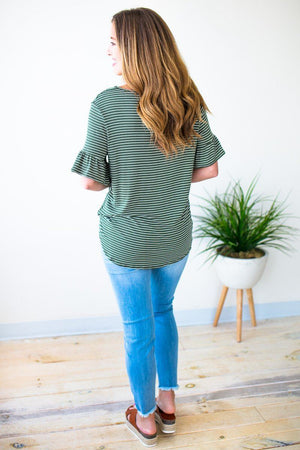 Short Sleeve Olive Stripe Top