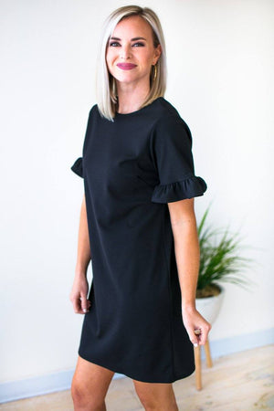 Short Ruffle Sleeve Black Dress