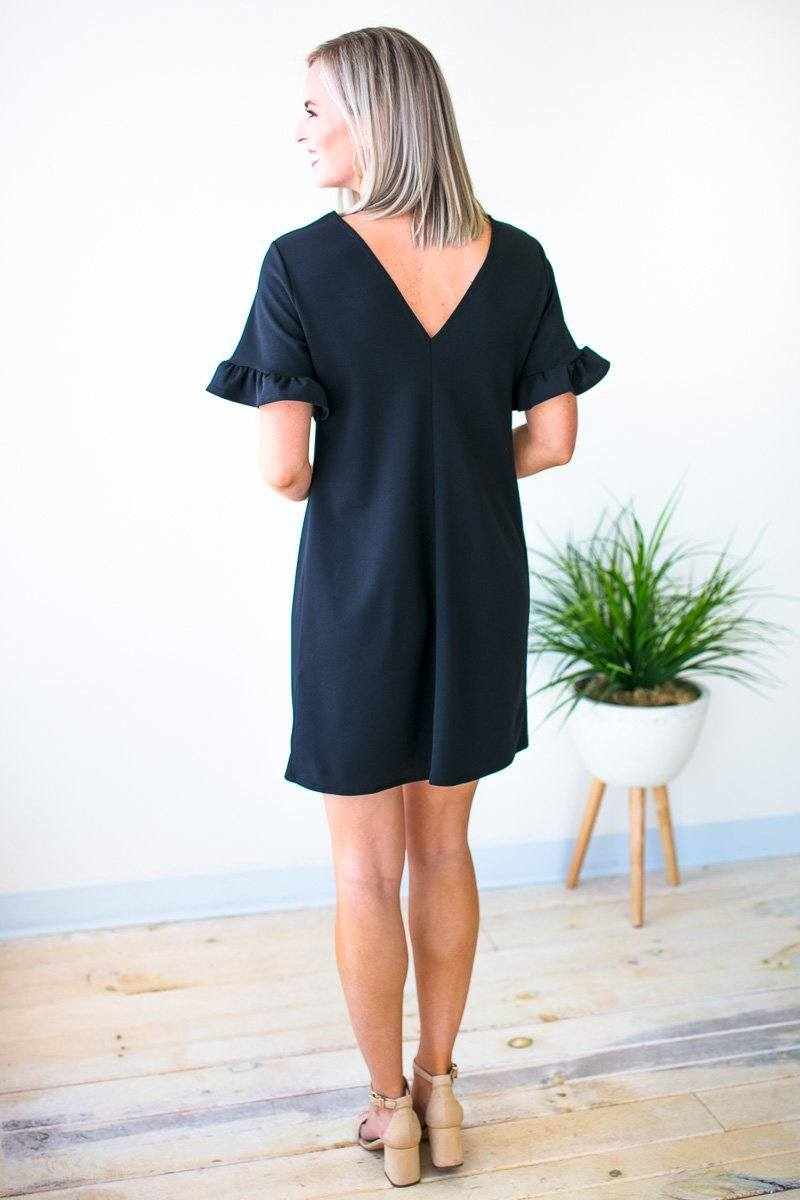 Dresses This One's for You Ruffle Sleeve Dress in Black - Lotus Boutique