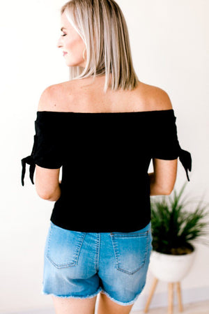 Black Off Shoulder Tie Sleeve Top