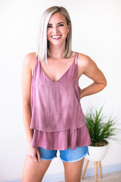 Tops All is Well Layered Mineral Wash Tank - Lotus Boutique