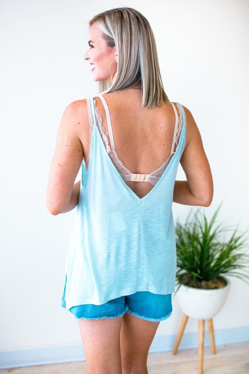 Tops Request Time Off Flowy Tank in Light Blue - Lotus Boutique