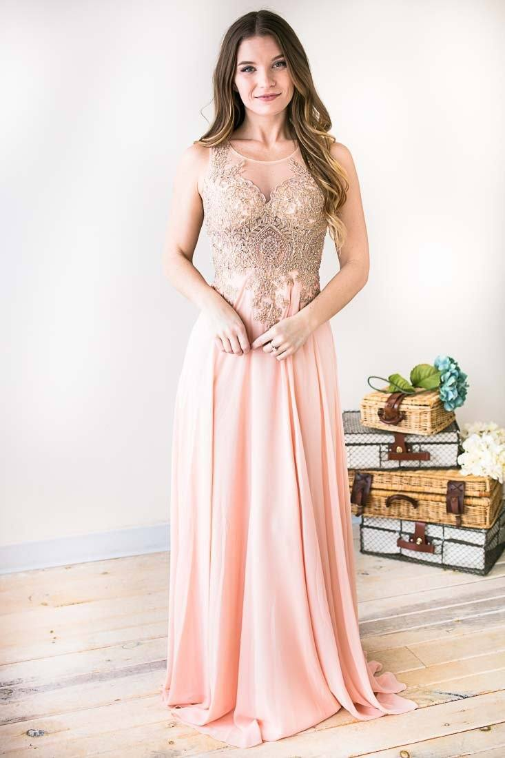 Beautiful Sheer Beaded Bodice Light Pink Formal Gown