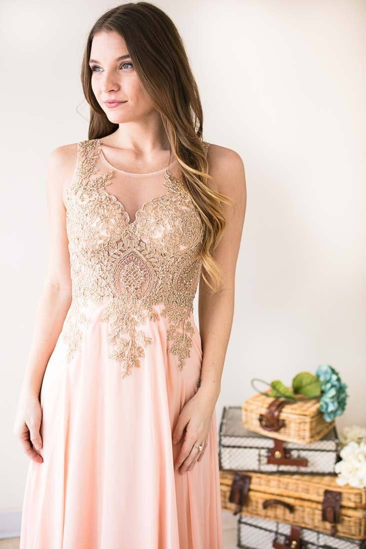 Dresses Make Me Blush Beaded Bodice Formal Gown - Lotus Boutique