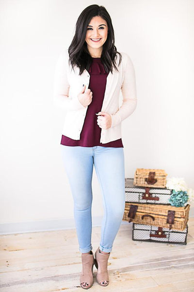 Tops Just a Little Crush Light Blush Sweater Cardigan - Lotus Boutique
