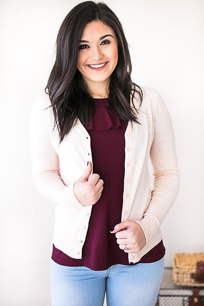 Just a Little Crush Light Blush Sweater Cardigan-Tops-Lotus Boutique-Lotus Boutique