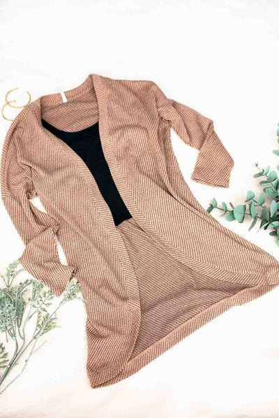 Tan Textured Cardigan