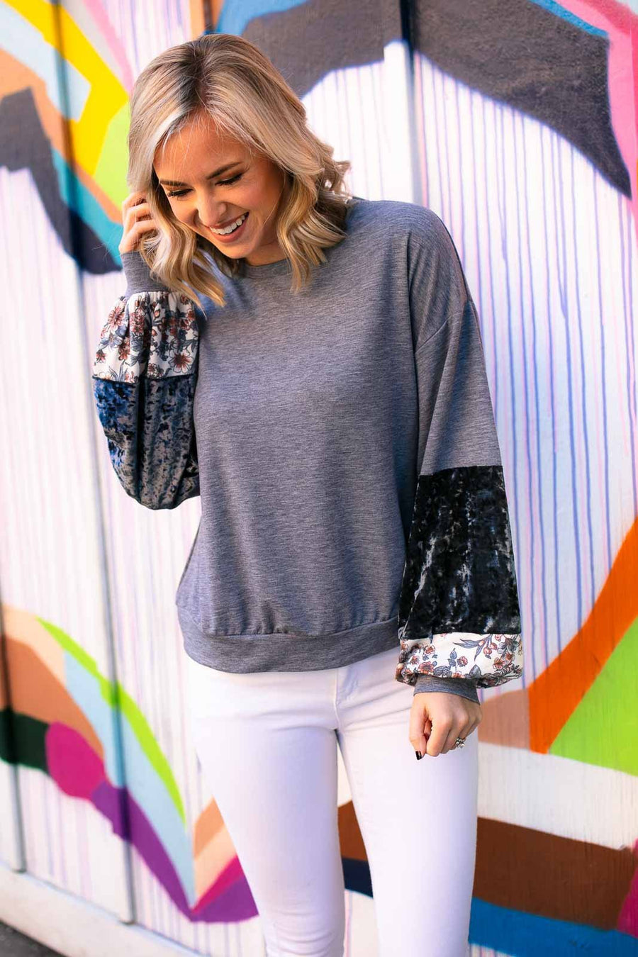 Block Puff Sleeve Pullover