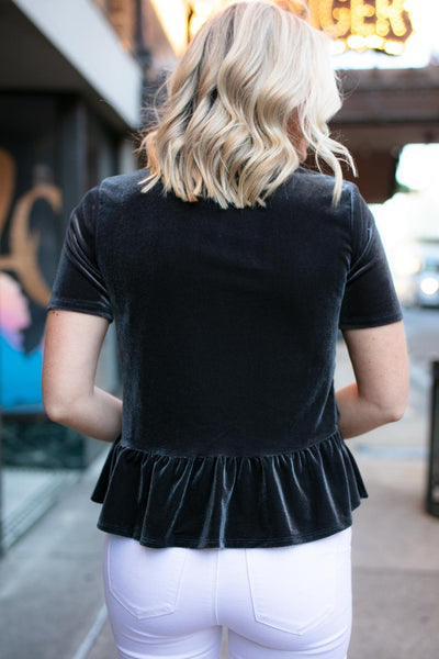 Tops Gunmetal Velvet Ruffle Bottom Top - Lotus Boutique