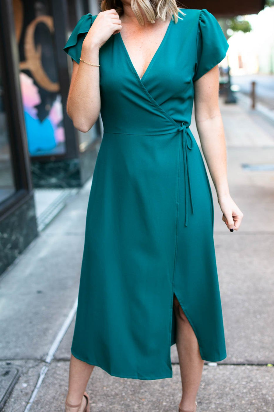 Dresses How Long Has It Been Midi Wrap Dress in Aqua - Lotus Boutique