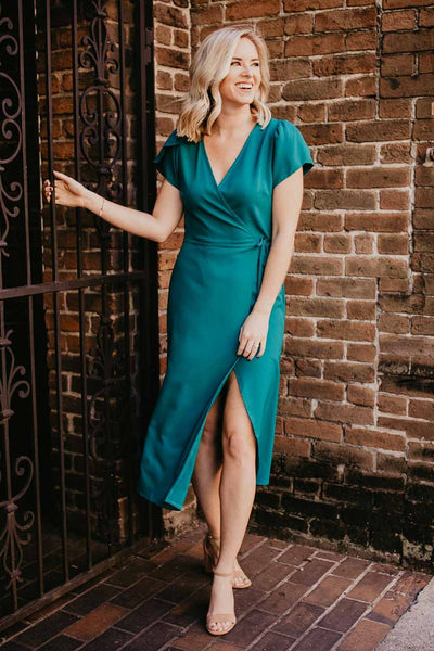 How Long Has It Been Midi Wrap Dress in Aqua