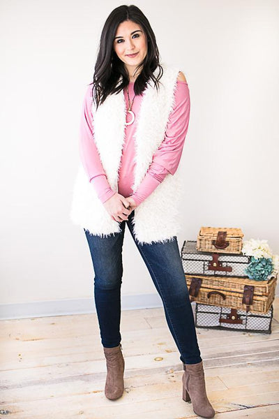 Soft Serenity Ivory Faux Fur Vest-Tops-Lotus Boutique-Lotus Boutique