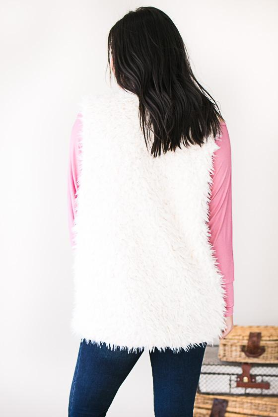 Tops Soft Serenity Ivory Faux Fur Vest - Lotus Boutique
