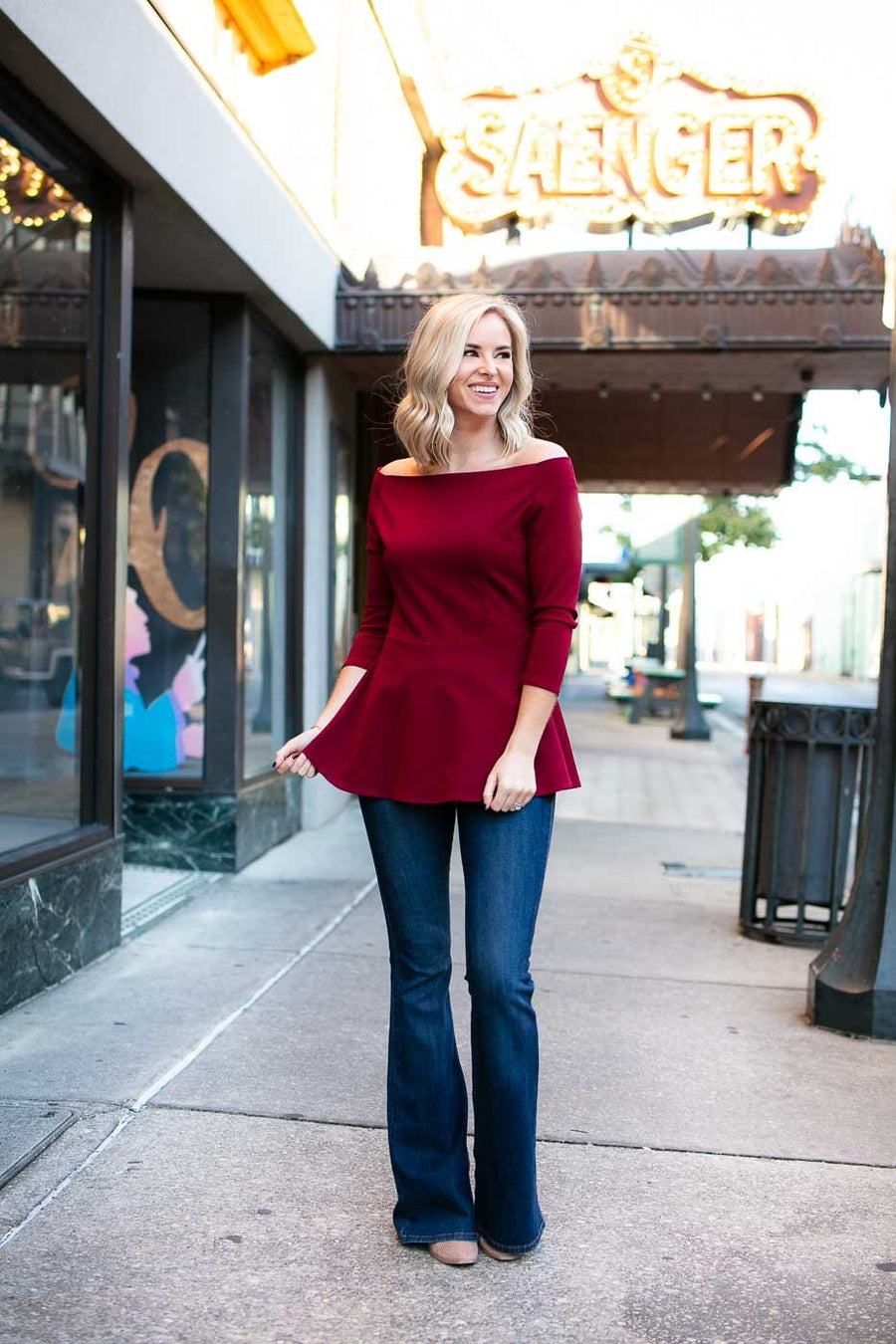 Pretty Peplum Top in Wine