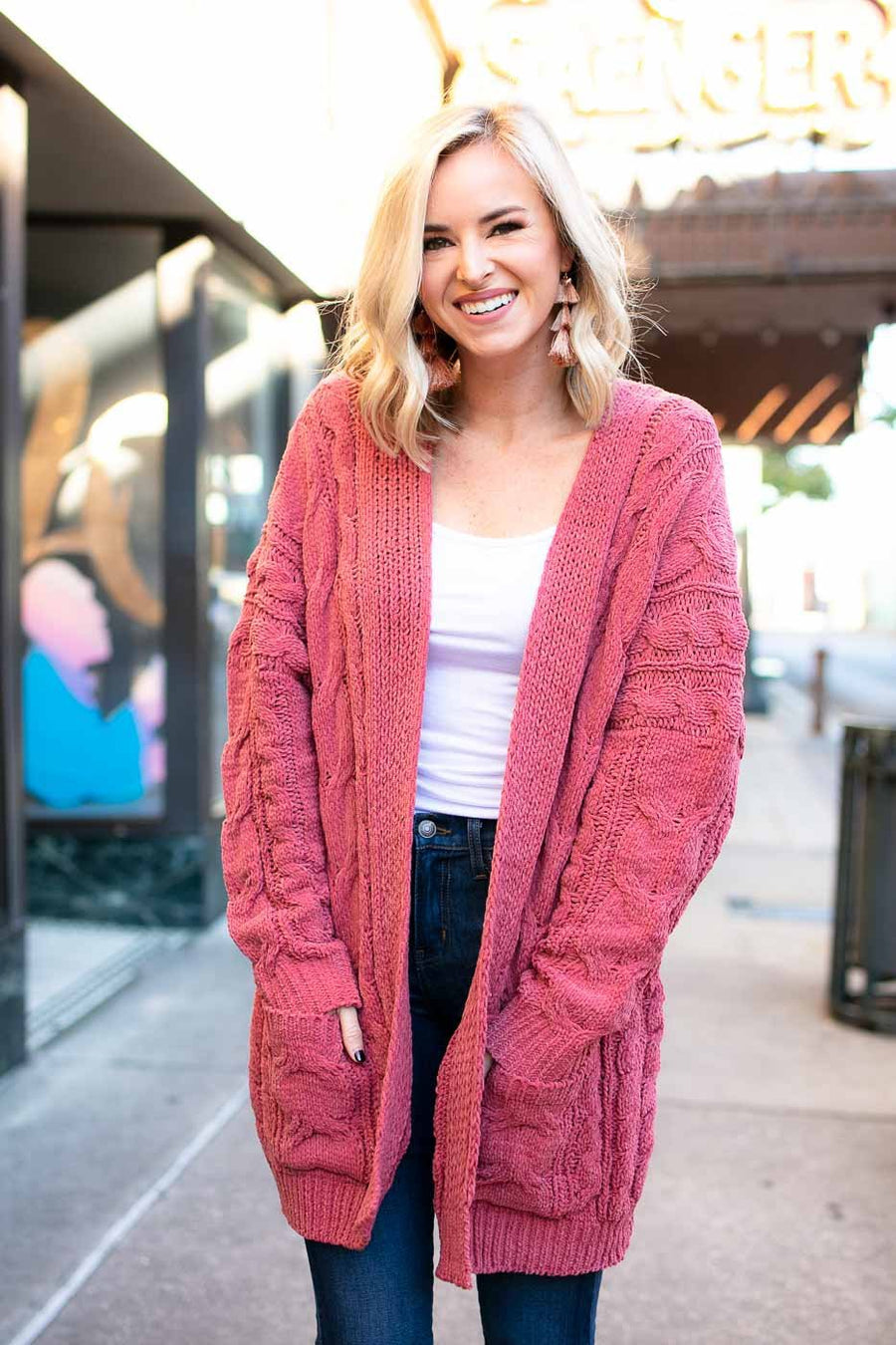 Tops Feels Good Cable Knit Cardigan in Rose - Lotus Boutique