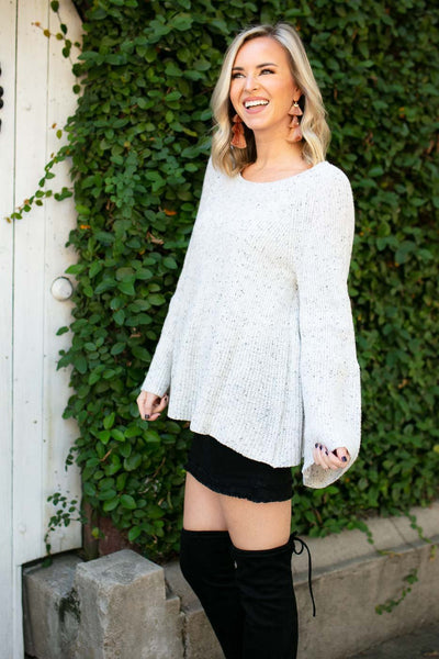 Tops Cookie n Cream Bell Sleeve Sweater - Lotus Boutique