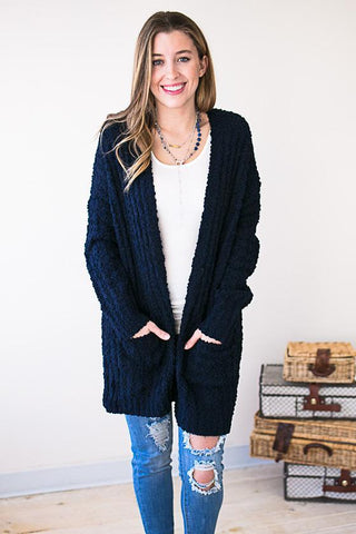 No Shivers Popcorn Cardigan - Navy