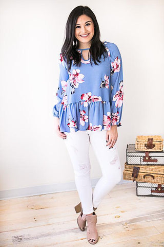 No More Blues Floral Ruffle Top