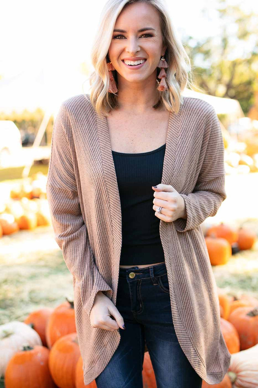 Tops Snicker-doodle Drop Shoulder Cardigan - Lotus Boutique
