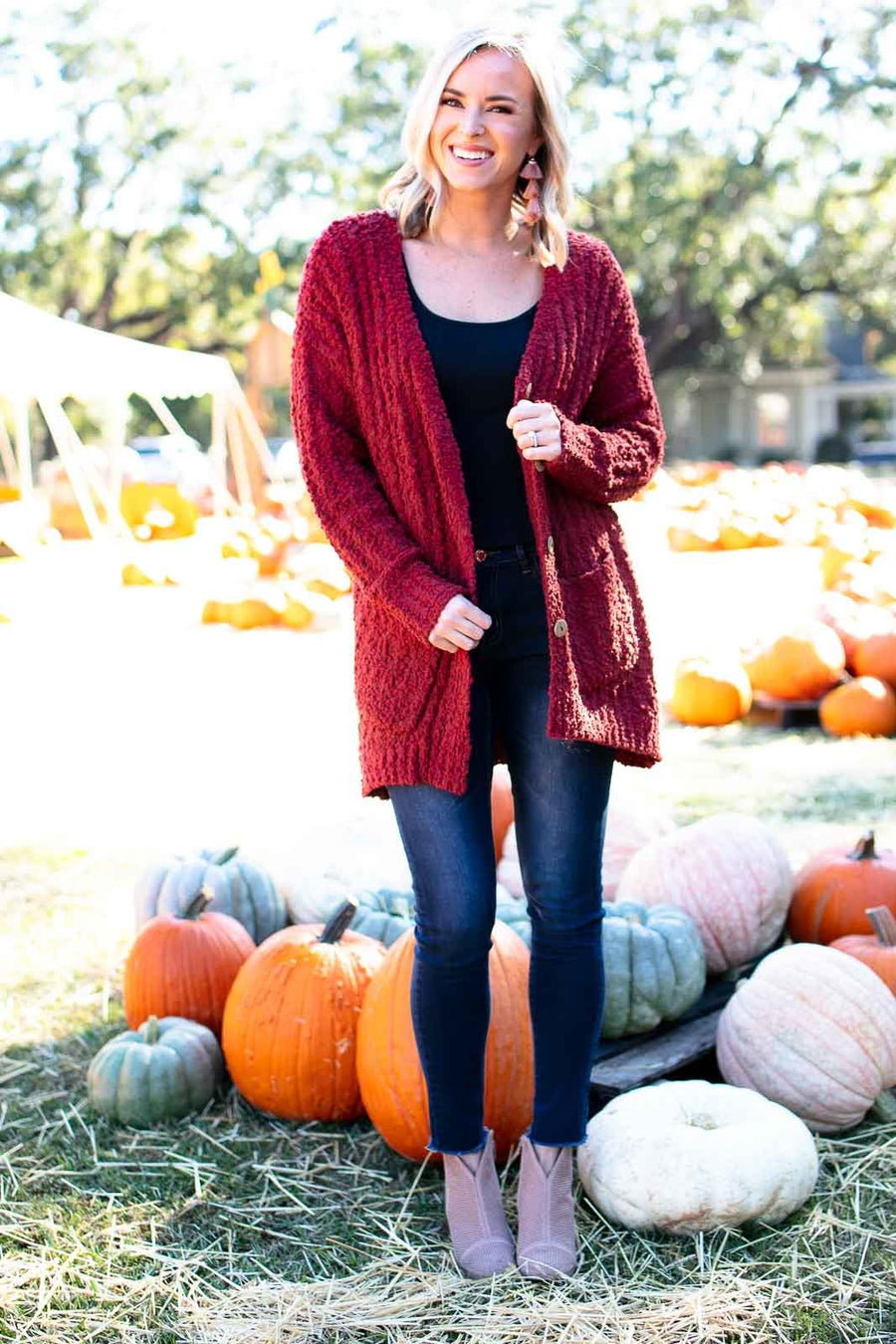 Tops Cinnamon Sugar Popcorn Cardigan - Rust - Lotus Boutique