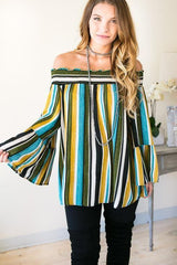 Take Me Straight To The Party Stripe Off Shoulder Tunic
