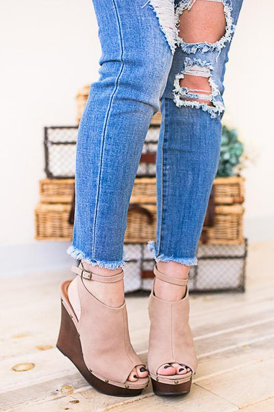 Shoes Kyndall Nude Platform Wedge  - Lotus Boutique