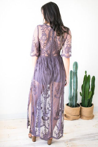 You Got It Lace Maxi Romper - Midnight