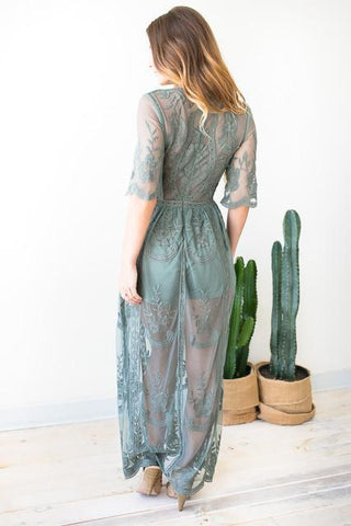 You Got It Lace Maxi Romper - Sage